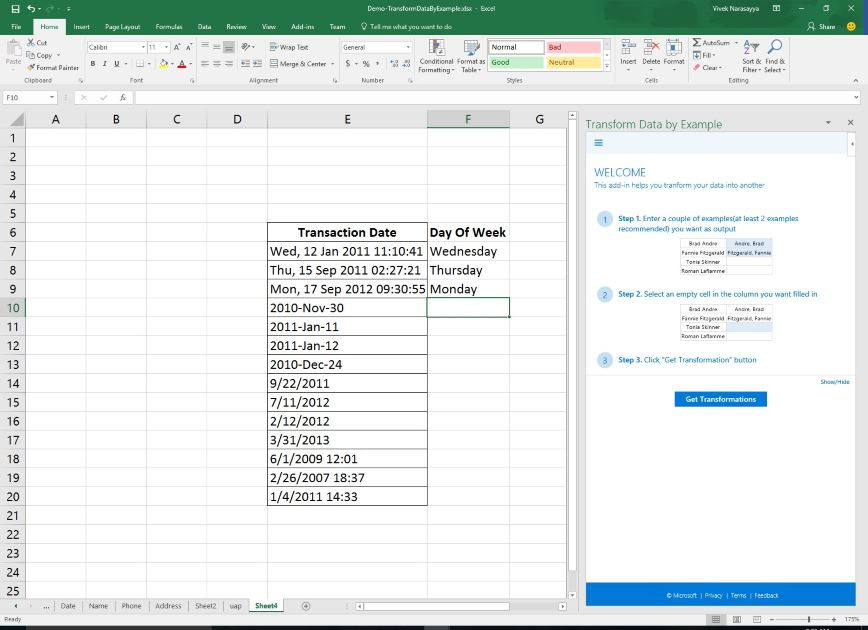 Transform Data by Example, a Microsoft Garage project for Excel