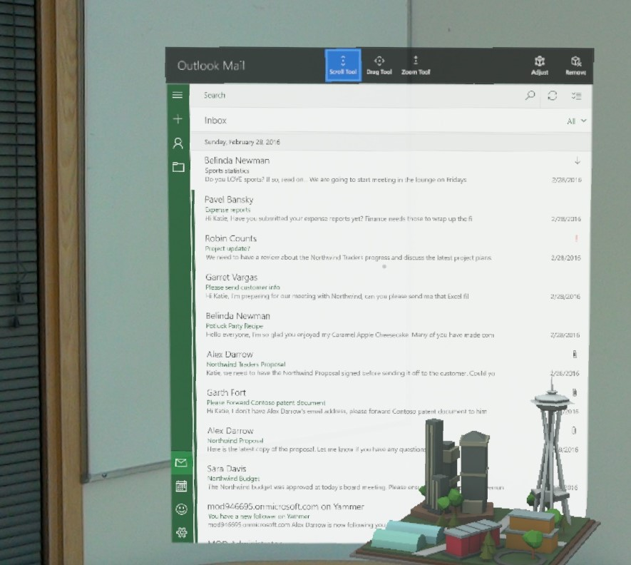Bringing Outlook Mail and Calendar to Microsoft HoloLens - Microsoft