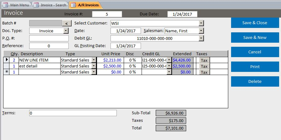 access invoicing template