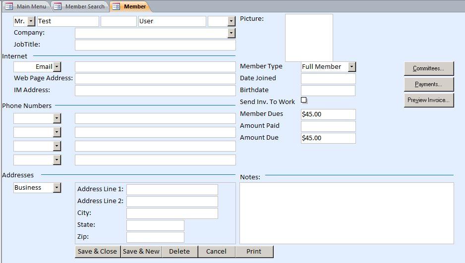excel membership database template