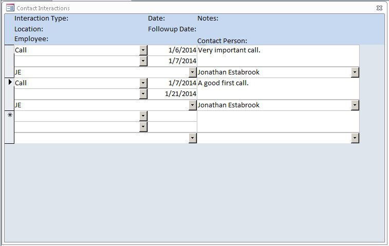 Microsoft Access Call Log/Interaction Tracking Database Template