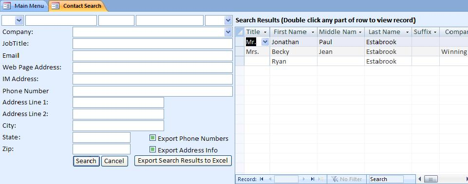 Microsoft Access Contact Database Template - phone book excel template