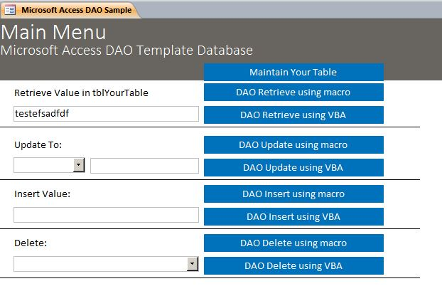 Microsoft Access Sample Code Using DAO Data Access Objects