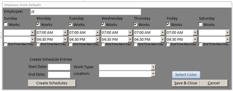 Microsoft Access Employee Scheduling Database Template - shift workers schedule