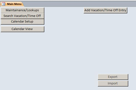 Microsoft Access Employee Vacation Tracking Database Template - vacation tracker app