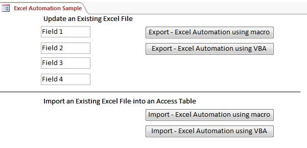 Microsoft Access Sample Code - Excel Automation