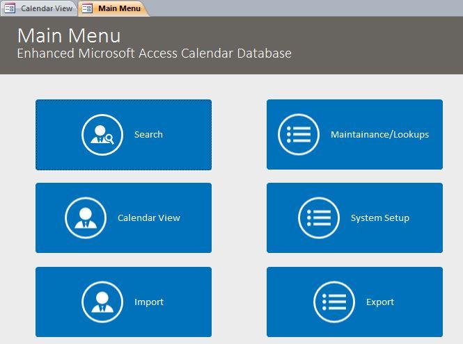 Enhanced Calendar Scheduling Database Template Calendar Database