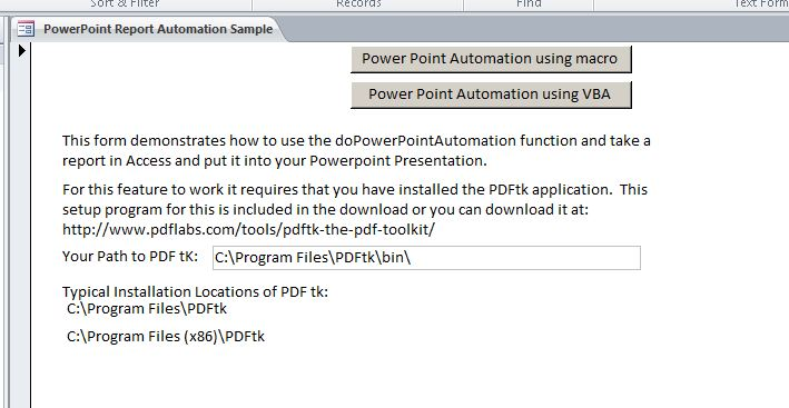 Microsoft Access PowerPoint Automation Report