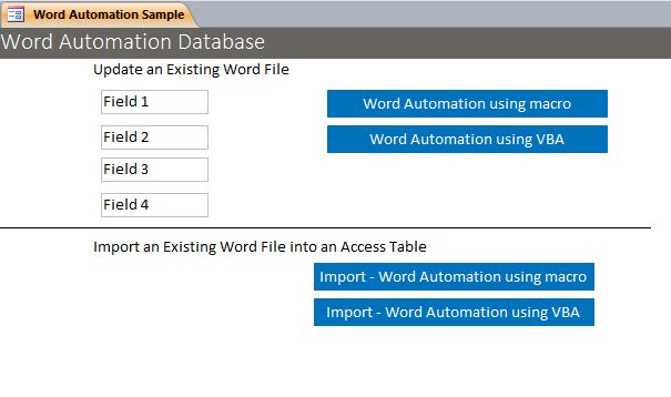 Word Automation Microsoft Access Sample Code