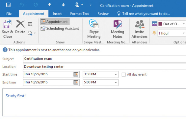Manage Scheduling in Microsoft Outlook 2016 Microsoft Press Store - outlook meeting agenda template