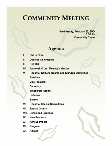 Church Meeting Minutes Template – Church Bylaws Template
