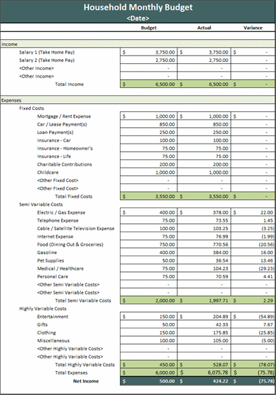household expenses template excel