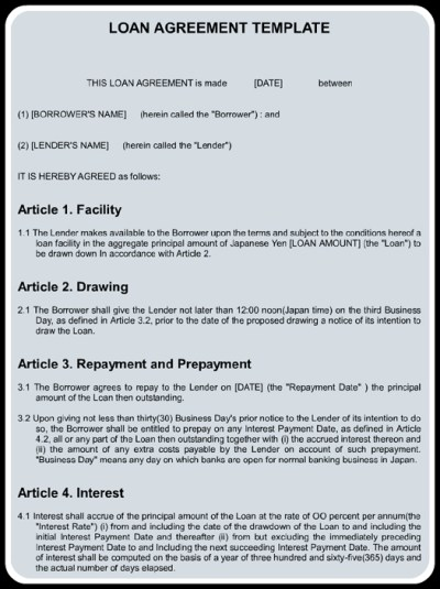 Sample Loan Agreement Template Word | MS Office Templates