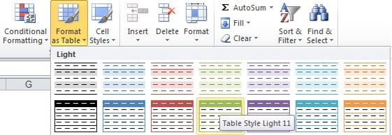 Excel Training Format Data as a Table