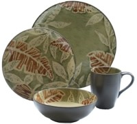 Discontinued 222 Fifth Khaki Leaves Dinnerware