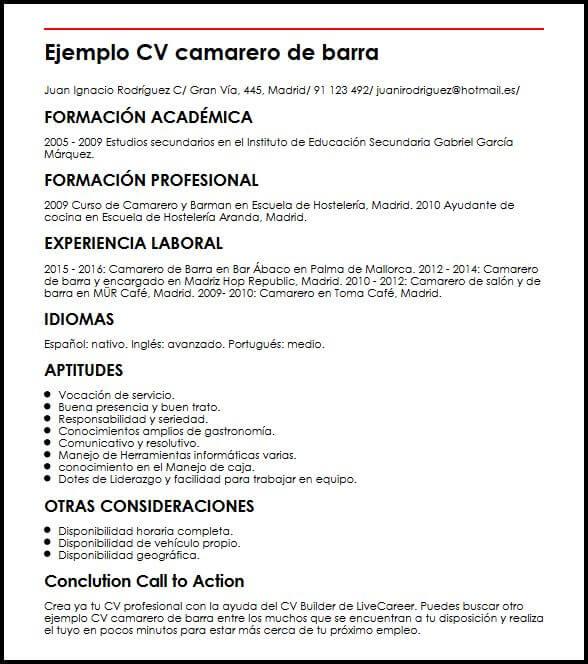 Ejemplo CV Camarero De Barra MiCVidealexemple de cv original