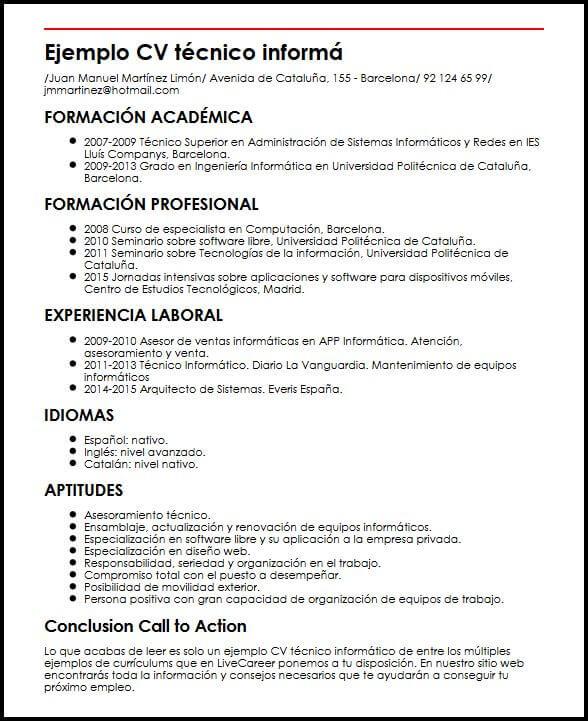 Ejemplo CV Tecnico Informatico MiCVideal