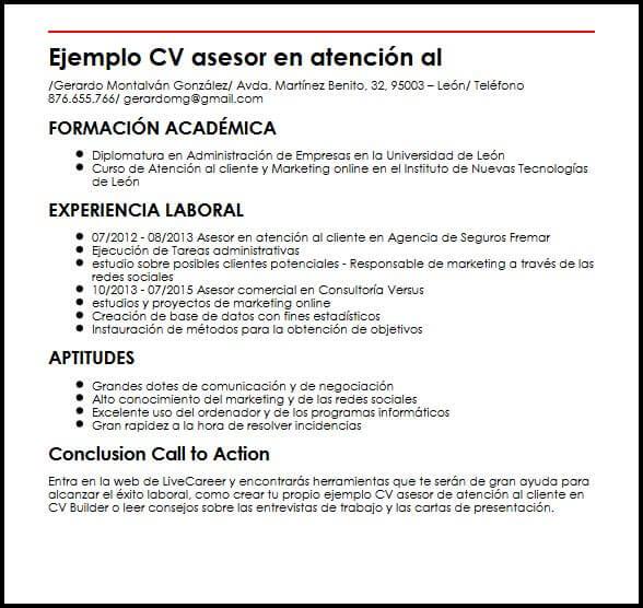 cv atencion al cliente ejemplo