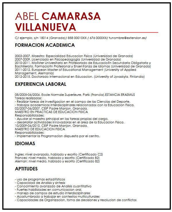 Ejemplo de CV con Referencias Muestra Curriculum Vitae