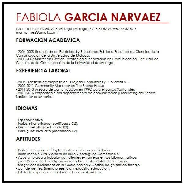 Modelo CV internacional Muestra curriculum Vitae