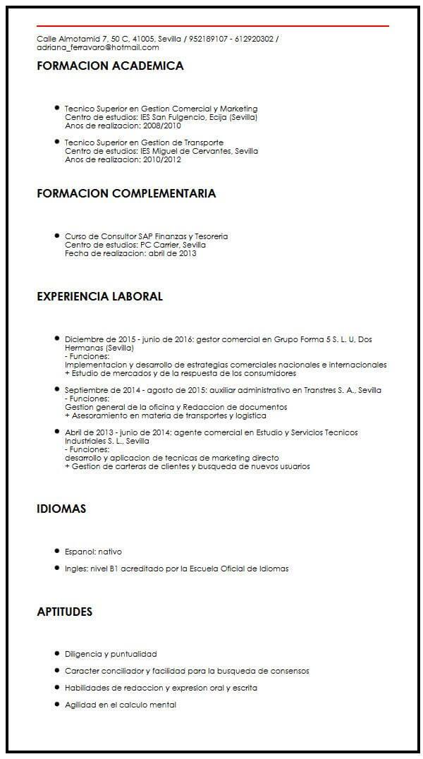 Modelo de CV academico Muestra Curriculum Vitae