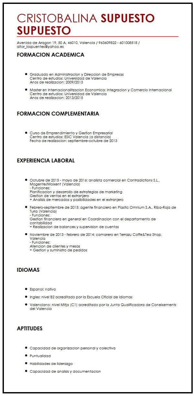 Modelo de CV para Estudiantes Universitarios Muestra curriculum Vitae