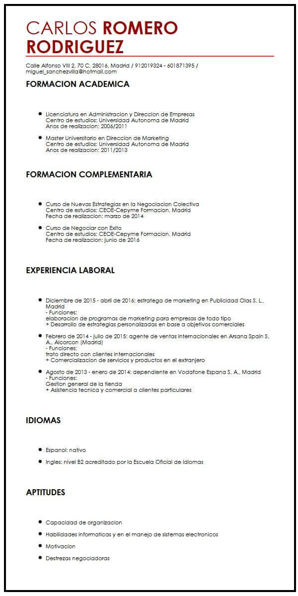 Modelo de CV para Practicas Muestra curriculum Vitae