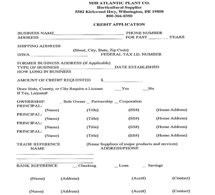 Mid Atlantic Plant Company Inc, Wilmington, DE - Credit Application Page