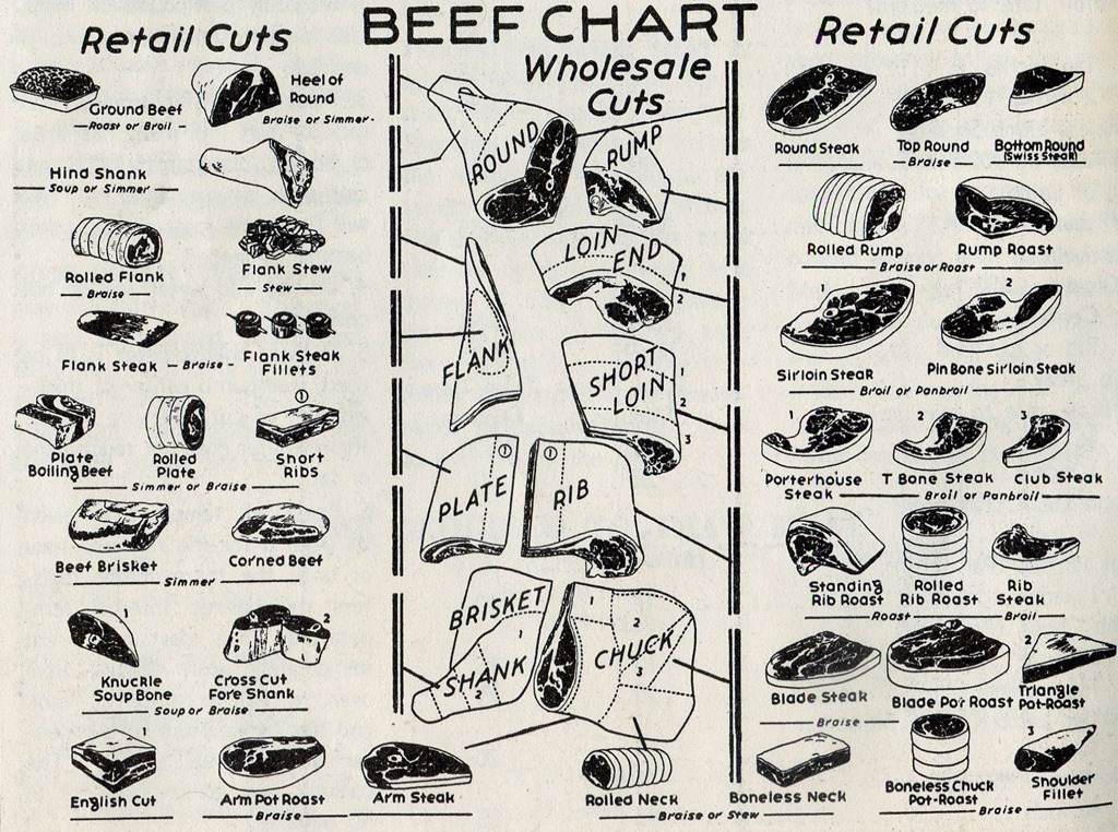 A 1954 Chart of Veal and Beef Retail Cuts The Mid-Century Menu
