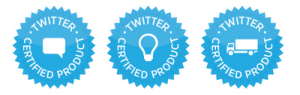 Estas so as 3 badges do Programa de Produtos Certificados do Twitter