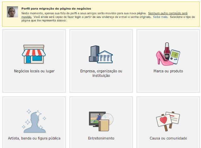 tela de migração entre perfil e fanpage no Facebook
