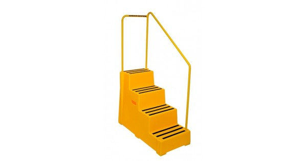 4 Tread Heavy Duty Moulded Safety Step With Handrail