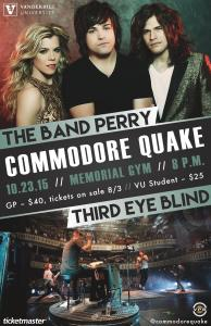 THE BAND PERRY AND THIRD EYE BLIND TO PERFORM AT THE 15TH ANNUAL COMMODORE QUAKE AT VANDERBILT UNIVERSITY