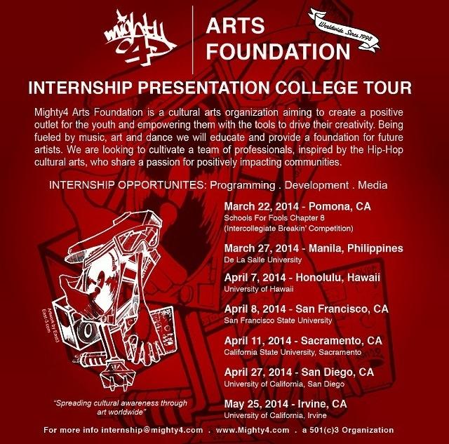 M4AF \u2013 Internship Presentation College Tour Mighty4 Arts Foundation