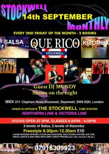 Friday 14th September  QUE RICO salsa and kizomba party at Ibex Venue in Stockwell London
