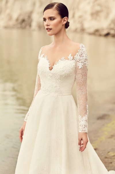 Embroidered Long Sleeve Wedding Dress - Style #2118 ...