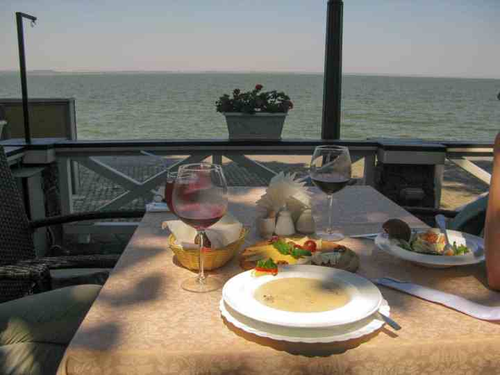 The view from Cafe Albatross, Taganrog, Sea of Azov in the background (don't be alarmed, the horizon is actually flat).