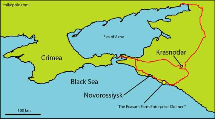 Map of the South Russia-Crimea-Black Sea region showing the location of the 'Peasant Farm Enterprise 'Dolmen''. Red lines are some main roads, showing a loop from the regional center of Krasnodar.