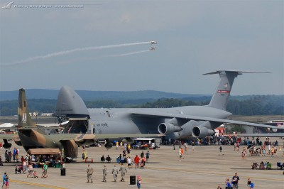 The Great New England Air Show 2012 - Look at the C-5B on the ramp, with Iron Eagle demo in the ...