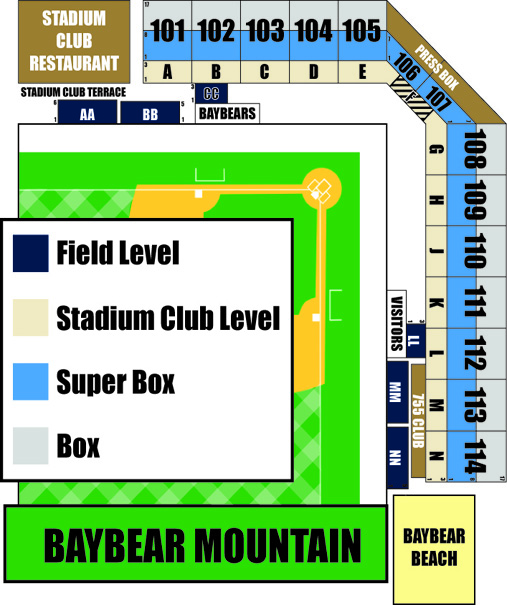 Interactive Seating Chart Mobile BayBears Hank Aaron Stadium