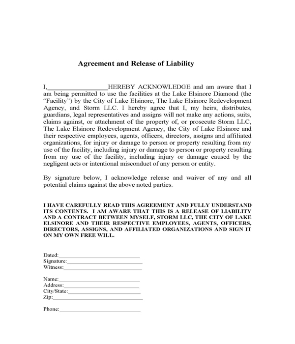 Agreement and Release of Liability Lake Elsinore Storm Content - release agreement