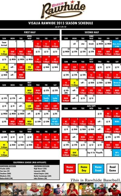 2013 Season Schedule | Visalia Rawhide Schedule