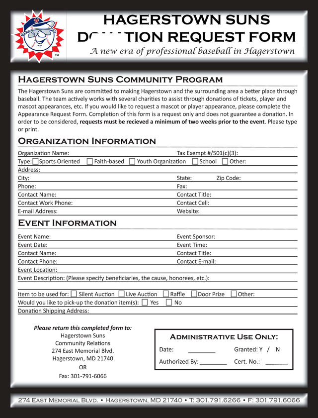 Appearance and Donation Requests Hagerstown Suns Community - donation request form