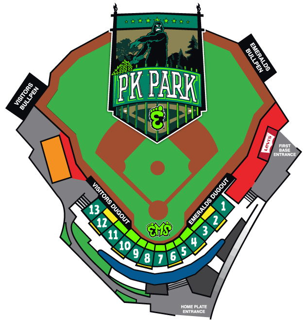 PK Park Seating Map Eugene Emeralds PK Park