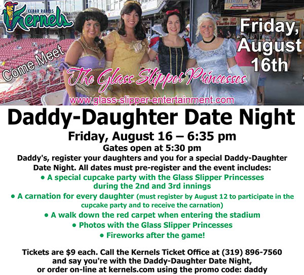 August 16 - Daddy Daughter Date Night Cedar Rapids Kernels Content