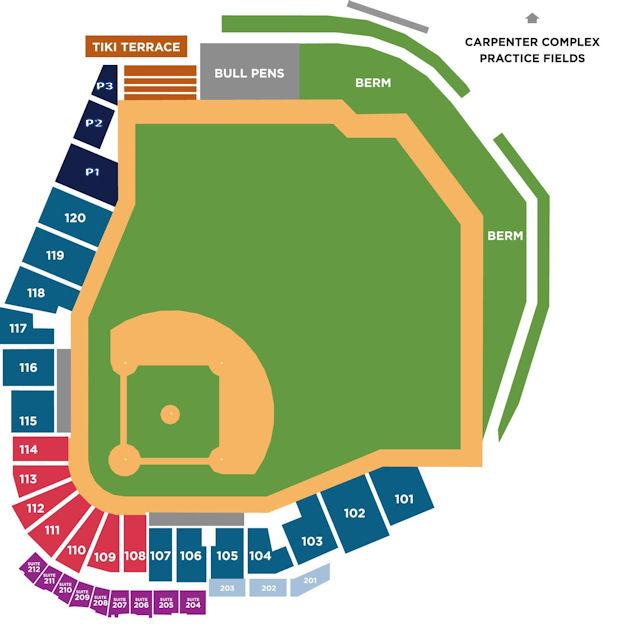Spectrum seating chart Clearwater Threshers Spectrum Field