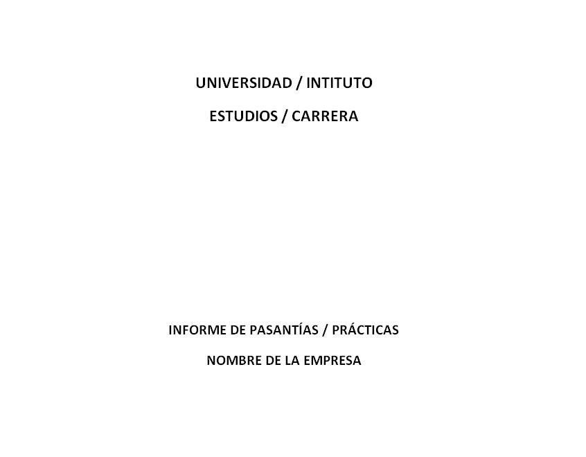 Ejemplo de informe de pasantías o prácticas Informes
