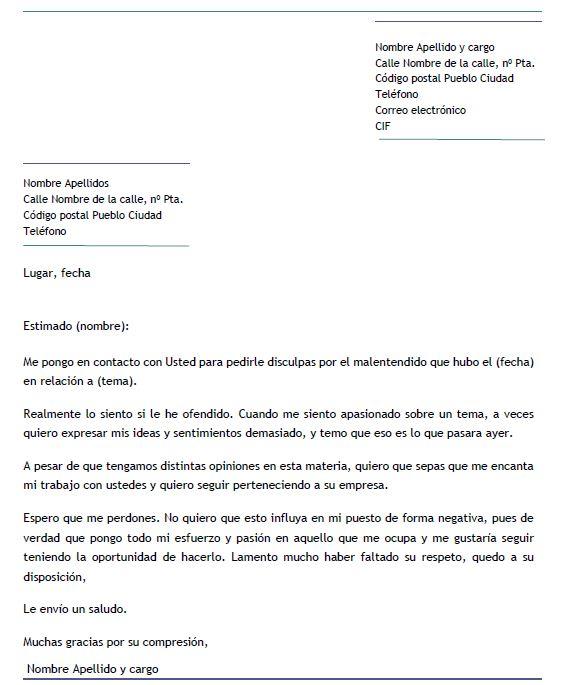 Ejemplo de carta de disculpa a un jefe