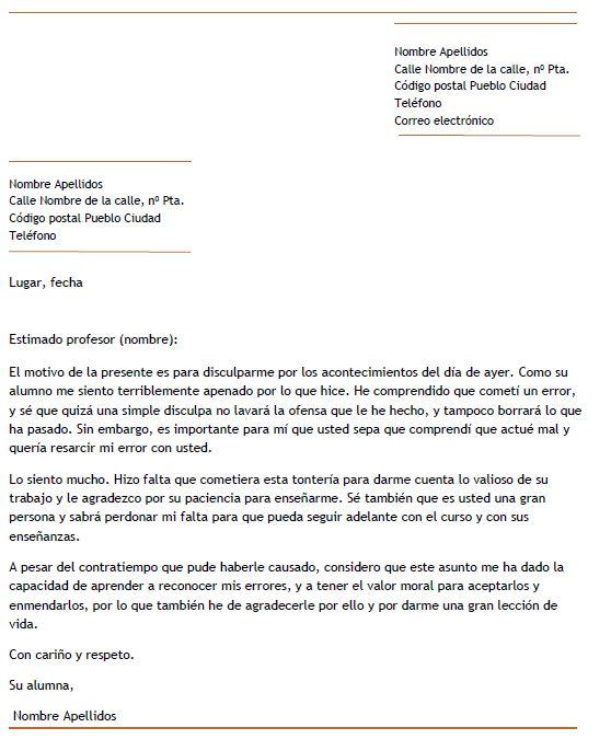 Ejemplo de carta de disculpa a un profesor Carta de disculpa