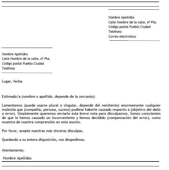 Ejemplo de carta de disculpa formal Carta de disculpa